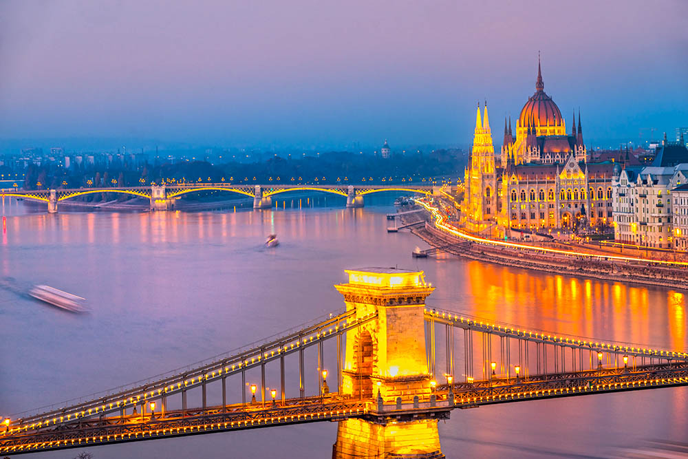 Budapest at sunset, Hungary