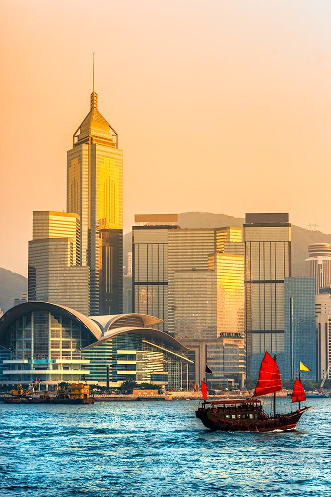 Hong Kong Harbour at sunset.