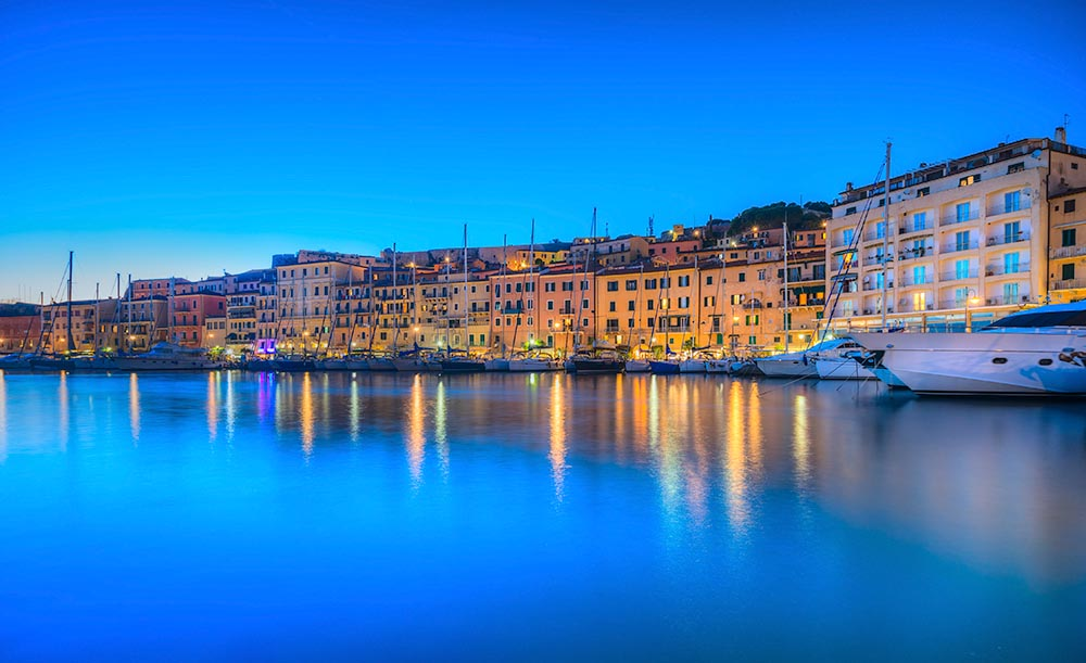 Portoferraio town at dusk, Elba island in Tuscany region, Italy.