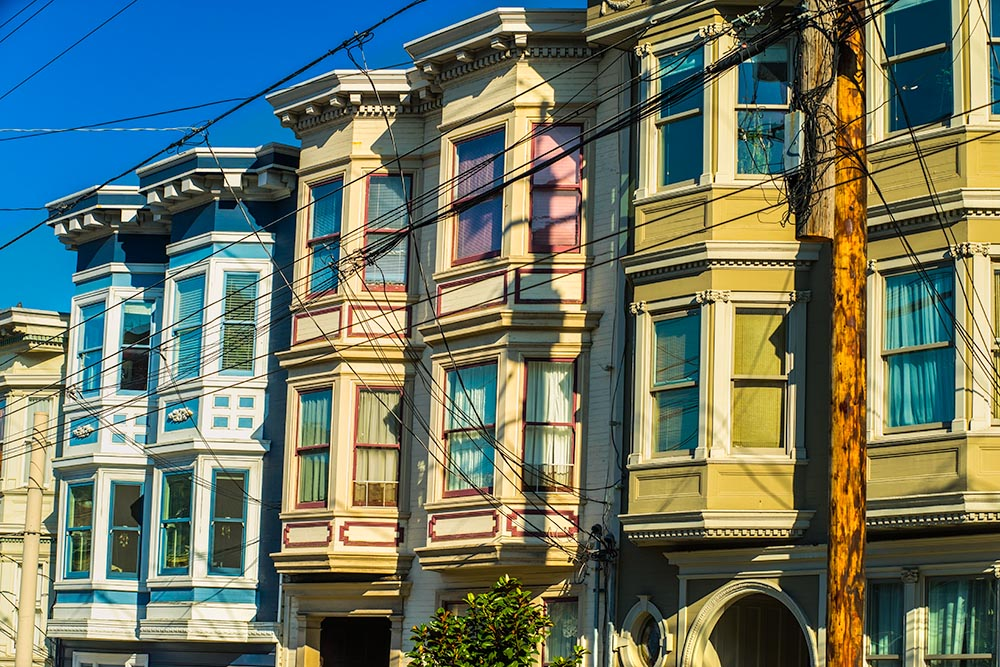 Colorful Victorian homes in San Francisco,