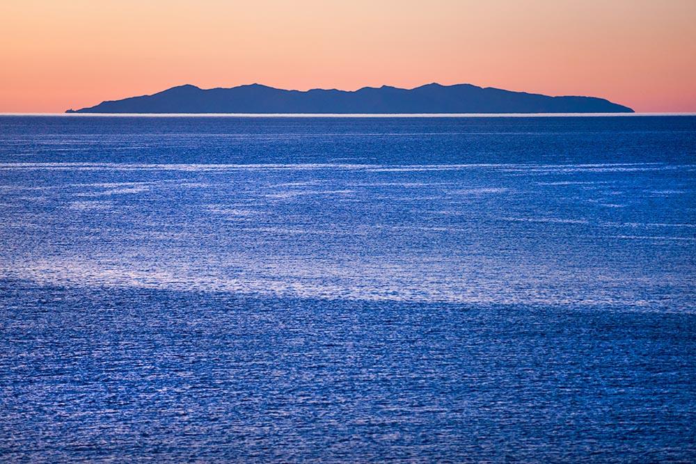 Capraia Island, view from Elba island. Italy.