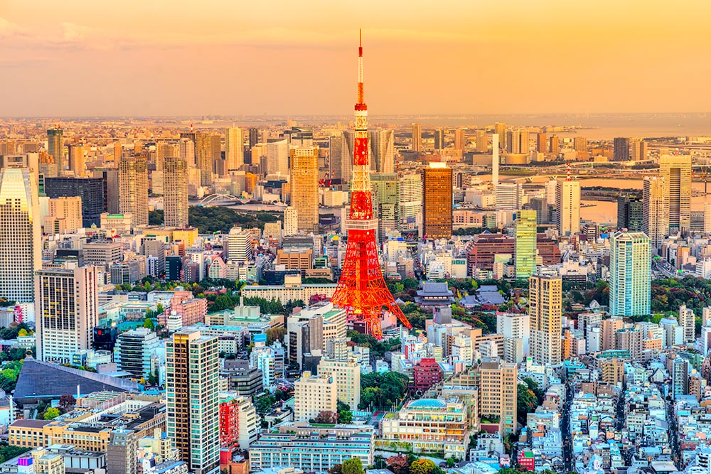 Skyline of Tokyo  witj the Tokyo Tower at blue hour. Japan
