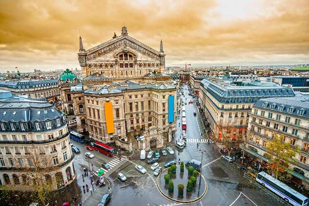 View of opera Garnier, Paris, France.