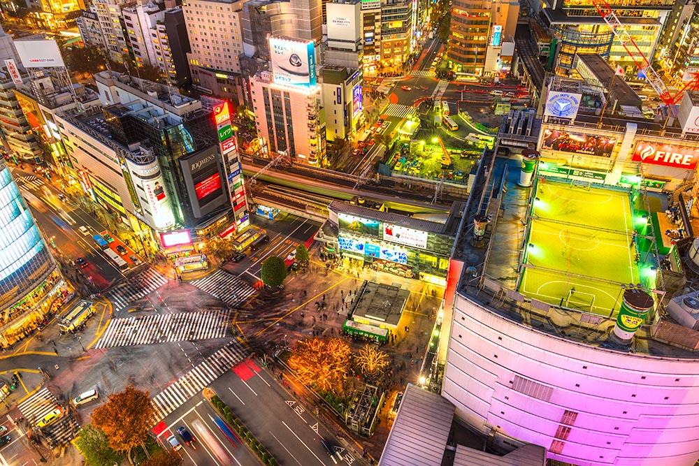 Aerial view of Shibuya District and Shibuya Crossing, Tokyo.