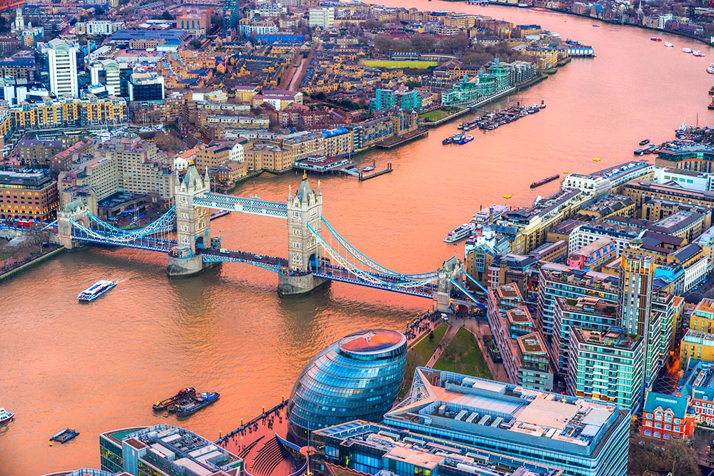 Tower Bridge, view from the Shard, London, UK