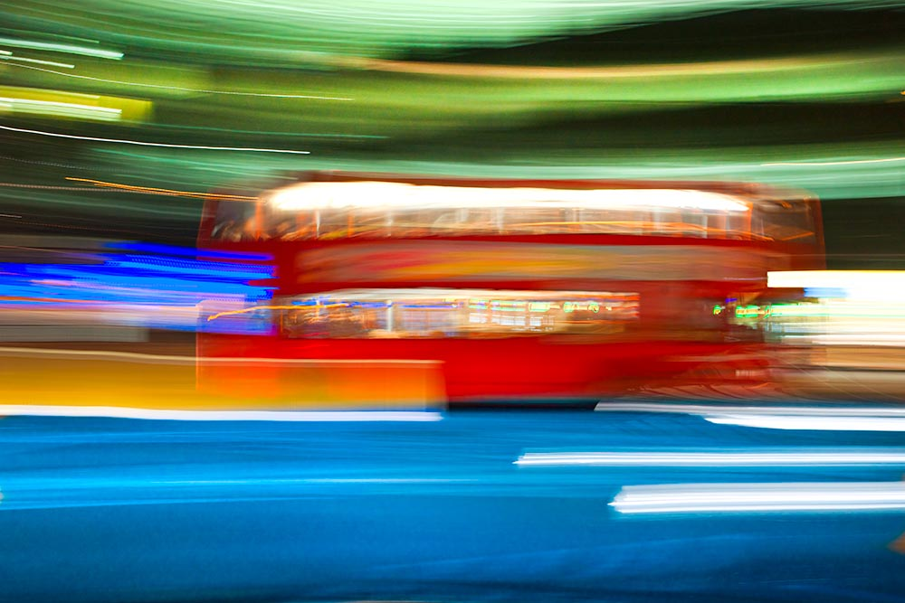 Blurred motion picture of a double-decker bus, London, Uk.